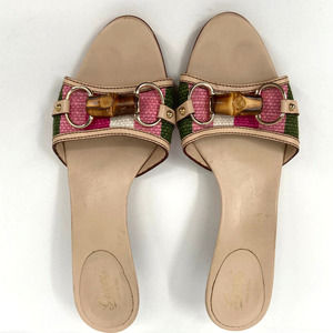 Gucci Stripe Canvas and Leather Bamboo Horsebit Sandals Sz 7.5C